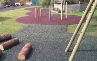 rubber mulch installed onto grass