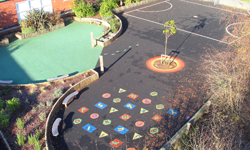 Wet pour playground flooring in school
