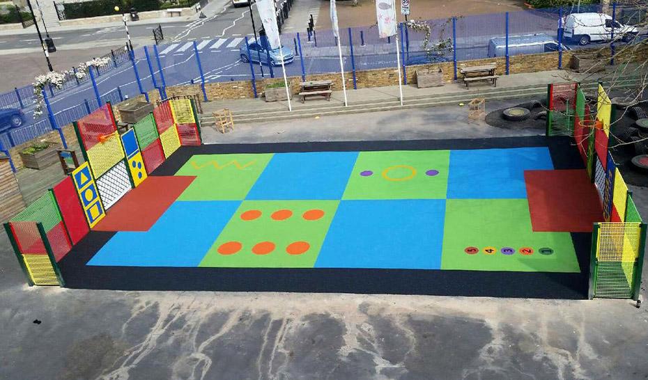 Bright sports flooring