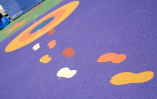 Footprints in nursery flooring