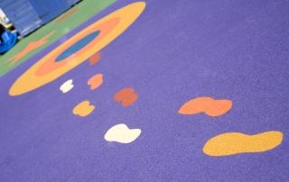 Footprints in nursery flooring