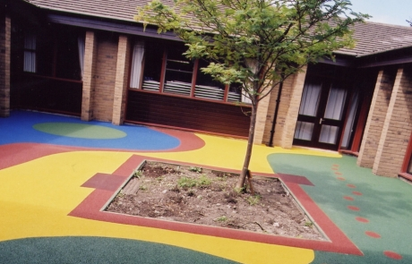 multicoloured play area surfacing