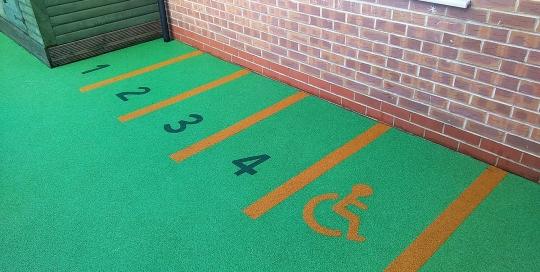 Parkings bays in nursery play area