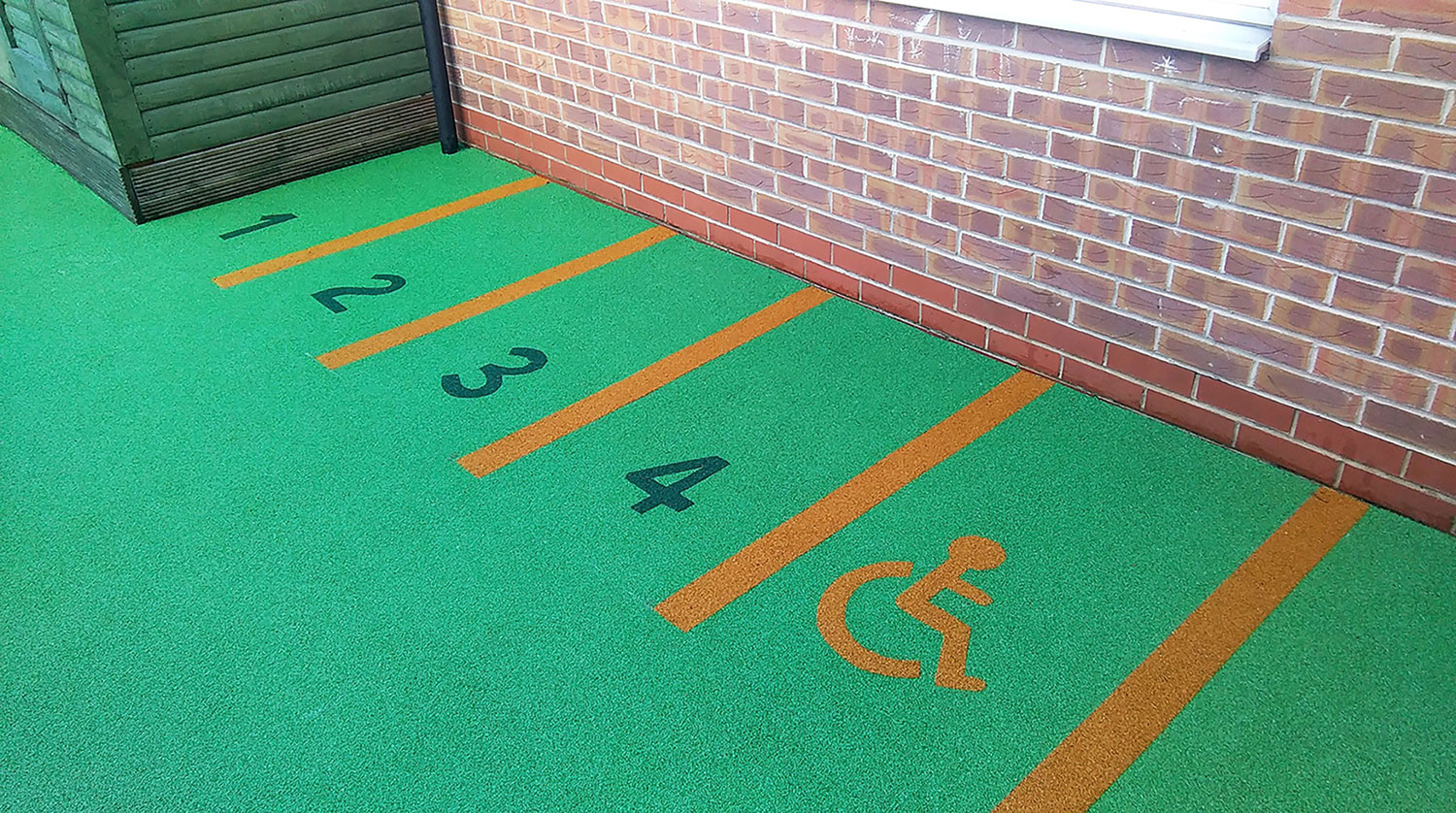 Parkings bays in nursery play area