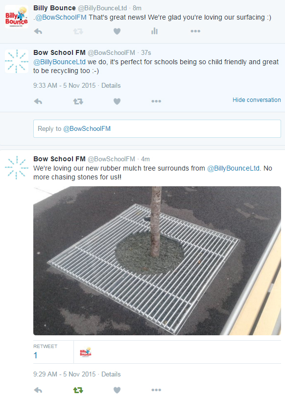 Bow school Tweet about Rubber Mulch