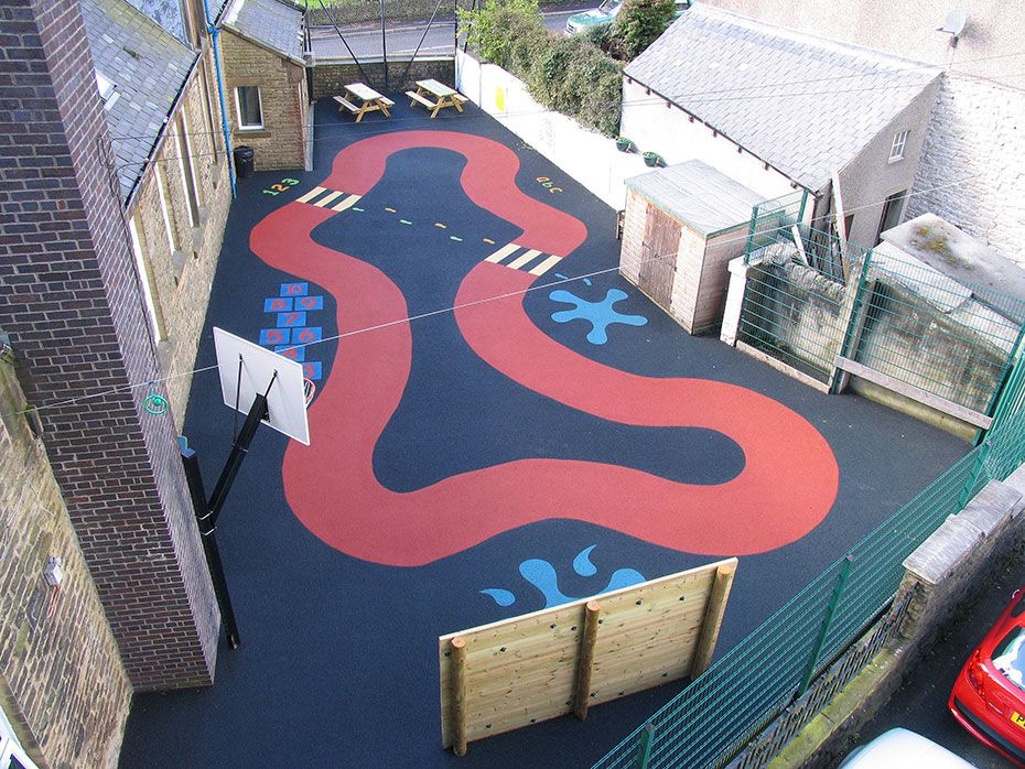 red road design on school playground