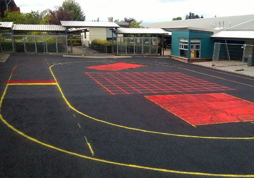 Line markings showing playground surfacing design