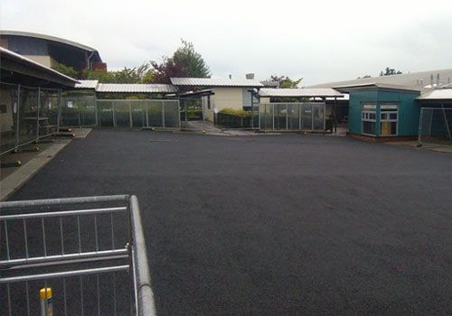 Wet pour base installed in playground