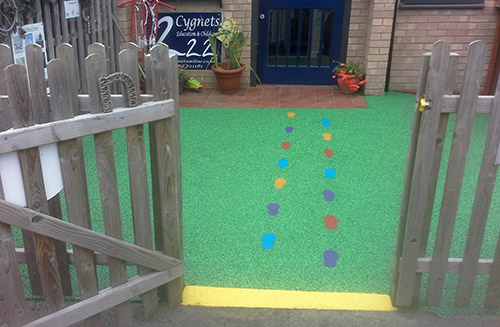 Footprint design in playground flooring