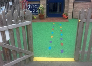 Nursery flooring with footprints