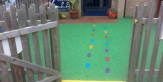 Nursery flooring with footprints