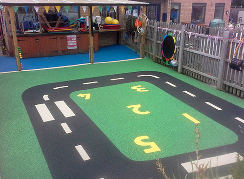 Roadway in playground flooring